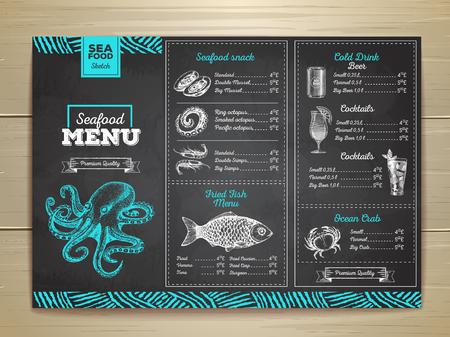 Vintage krijt tekening zeevruchten menu ontwerp. Bedrijfsidentiteit Stock Illustratie
