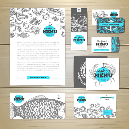 Seafood menu design. Corporate identity. Document template