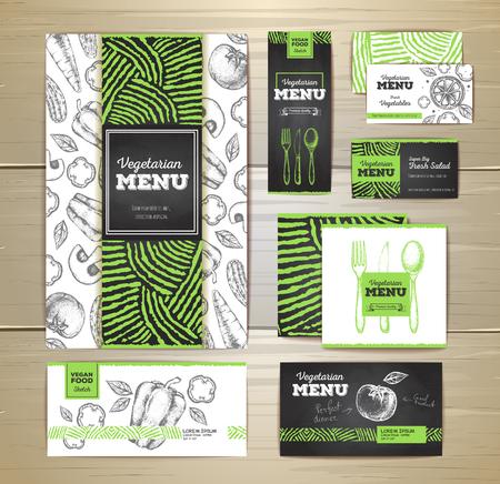 Vegetarian food menu design. Corporate identity. Document template