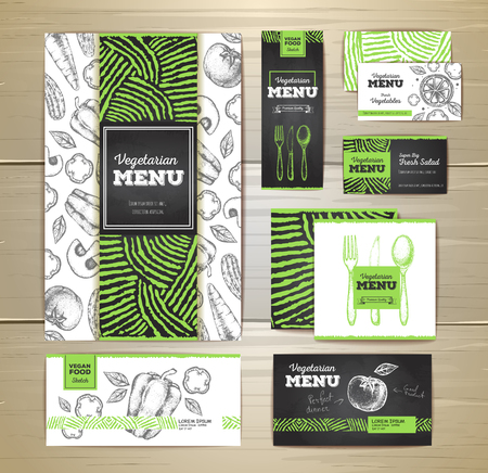 Vegetarian food menu design. Corporate identity. Document template