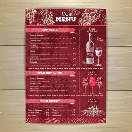 Vintage wine menu design. Illustration
