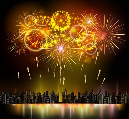 Vector holiday firework and nignt city Illustration