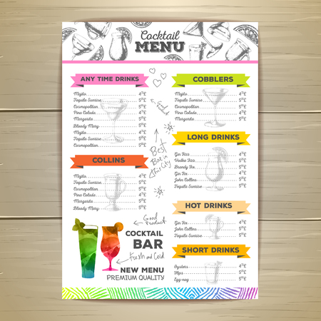 Vintage cocktail menu design. Document template
