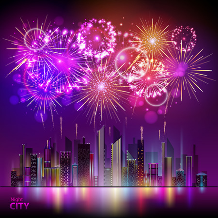 Holiday firework and night city.