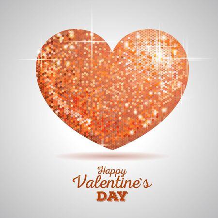 wedded: Valentine sparkle golden love heart Illustration