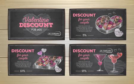 Set of valentine discount cards