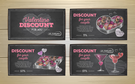 Set of valentine discount cards