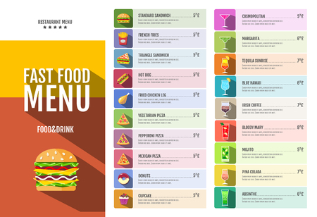 Fast food menu. Set of food and drinks icons. Flat style design.