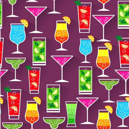 Flat style seamless pattern cocktail background