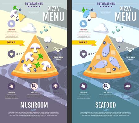 Flat style pizza menu design Illustration