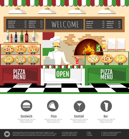 Flat style pizzeria interior. Web site design
