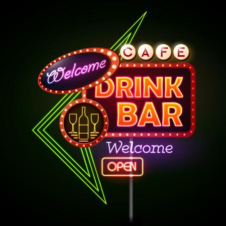 Drink bar Neon sign 向量圖像