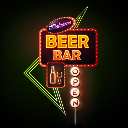 Barre à bière enseigne au néon.