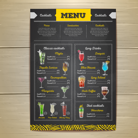 Vintage chalk drawing cocktail menu design.