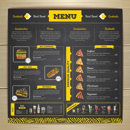 ヴィンテージ チョーク図面ファーストフードのメニューのデザイン。Cocktail.menu