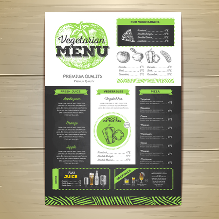Vintage chalk drawing, menu design. Vector illustration. Vettoriali