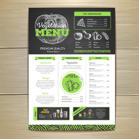 Vintage chalk drawing, menu design. Vector illustration. Ilustrace