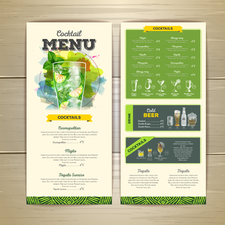 Watercolor cocktail menu design. Corporate identity Illustration