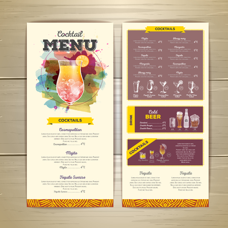 Watercolor cocktail menu design. Corporate identity Illustration