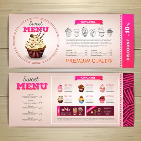 Vintage chalk drawing dessert menu design. Sweet cupcake