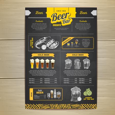 Retro Chalk drawing beer menu design.