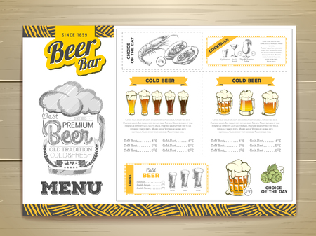 Vintage beer menu design. Vectores