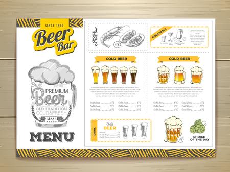 Vintage beer menu design. Stock Illustratie