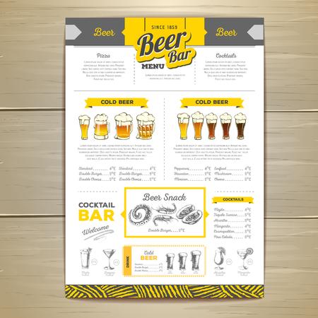 Vintage beer menu design. Vectores