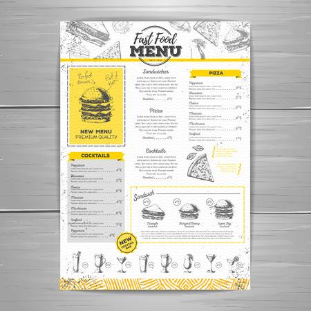 Conception de menus de restauration rapide vintage Banque d'images - 91948143