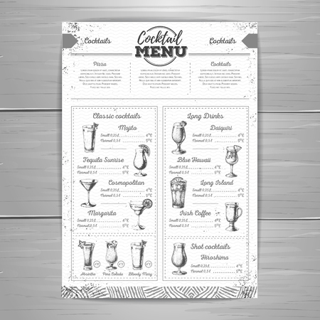 Vintage cocktail menu design.