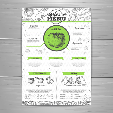 Vintage vegetarian menu design. Document template