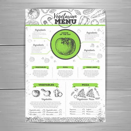 Vintage vegetarian menu design. Document template