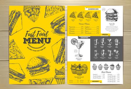Vintage fast food menu design. Sandwich sketch illustration.