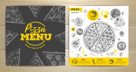 Vintage pizza menu design on wooden background illustration. Vectores