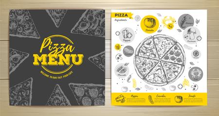 Vintage pizza menu design on wooden background illustration. Illustration