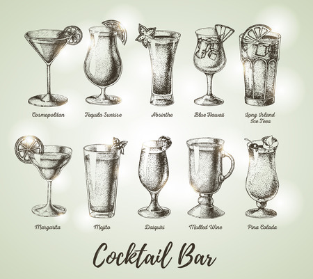 Vintage cocktail bar menu. Sketch art