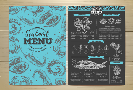 Vintage seafood menu design. Corporate idenity