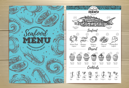 Vintage seafood menu design vector illustration Çizim