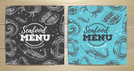 Vintage seafood menu design vector illustration  イラスト・ベクター素材