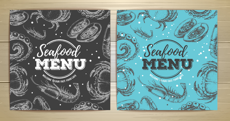 Vintage seafood menu design vector illustration 向量圖像