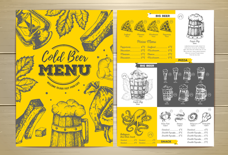 Vintage cold beer menu design vector illustration