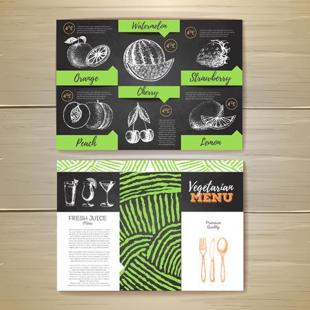Vintage vegetarian food menu design illustration.
