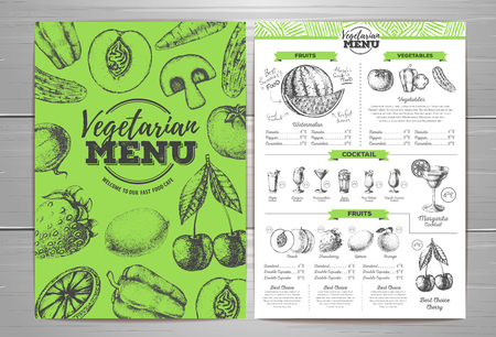 Vintage vegetarian menu design with cocktail drinks 向量圖像