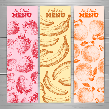 Set of vegetarian fresh fruit banners. Fruit sketch background. Menu design.