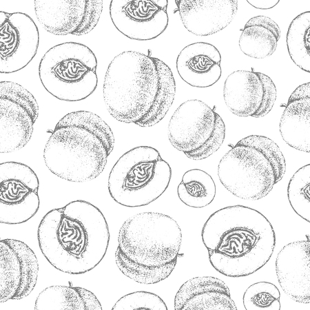 Seamless peach pattern. Fresh fruit skech backgound