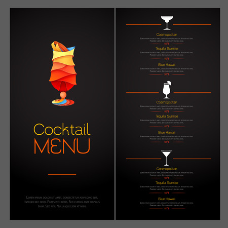 3D cocktail design. Cocktail menu design illustration.