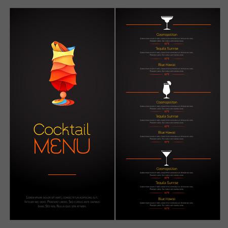 3D cocktailontwerp. Cocktail menu ontwerp illustratie.