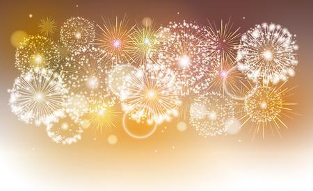 Vector golden holiday fireworks 일러스트