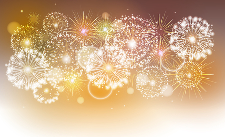 Vector golden holiday fireworks Vectores