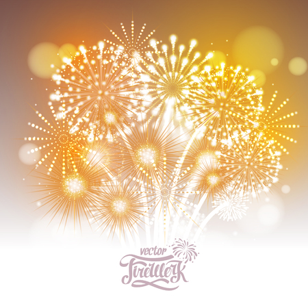 Vector golden holiday fireworks Illustration